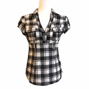 Plaid blouse top with belt loops fitted cap sleeve